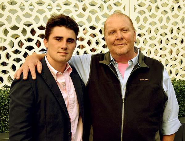 Image of Caption: Mario Batali with son Benno Cahn