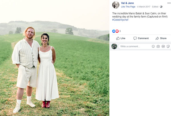 Image of Caption: Mario and Susi on their wedding day at the family farm