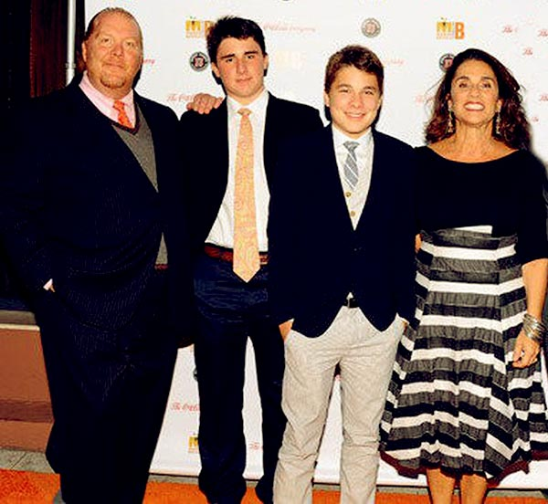 Image of Caption: Mario Batali with his wife Susi along with their kids