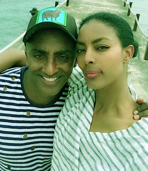 Image of Caption: Marcus Samuelsson with his wife Maya Haile