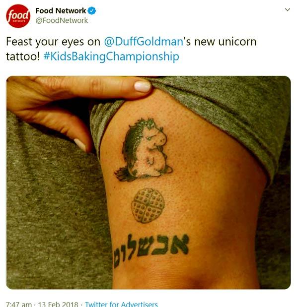 Image of Caption: Duff Goldman new unicorn tattoo