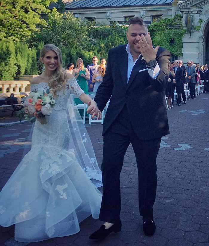 Wedding photo of Chef Christian Petroni and his wife, Sheri Sicurella.