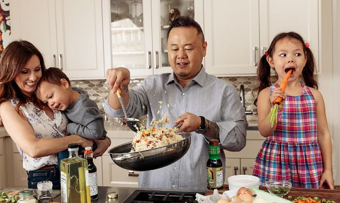 Image of famous and successful chef, Jet Tila and his family