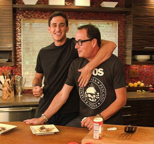 Image of a Canadian-American cook, Sam Zien and his son